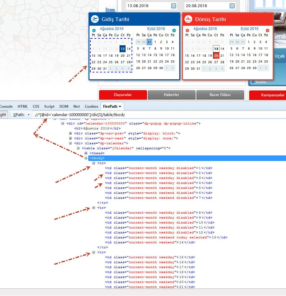 Event Calendar Js : How to select a date from datepicker using selenium