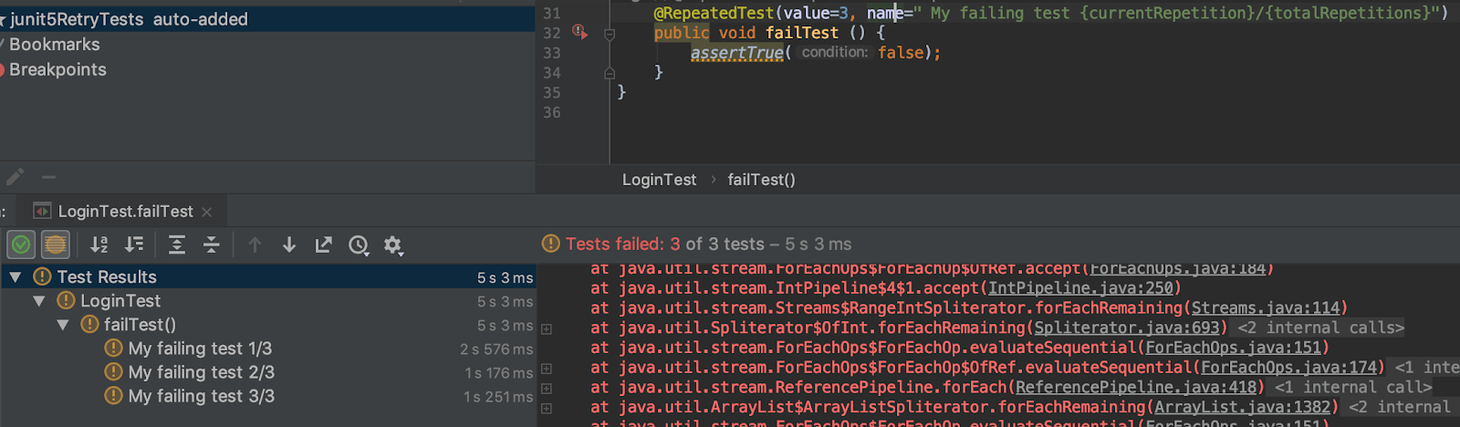 JUnit 5 How to Repeat Failed Test