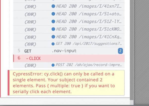 cypress error
